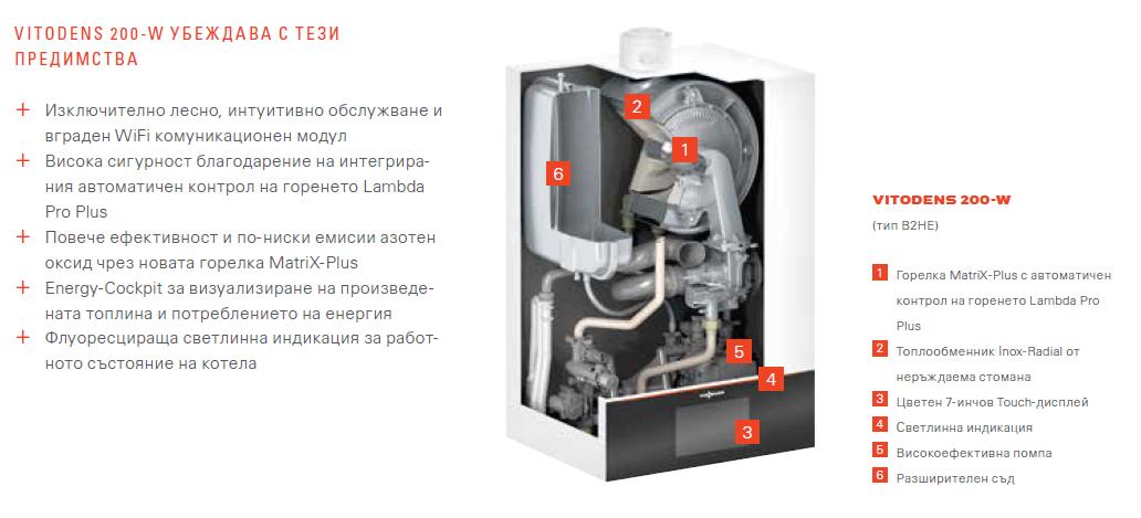 Стенен кондензен газов котел Viessmann Vitodens 200-W